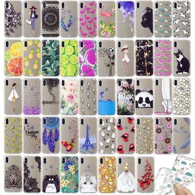 Ultra Thin Pattern Rubber Silicone Clear Soft TPU Back Cover Case For Huawei