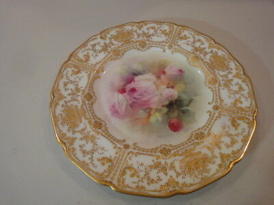 Vintage Royal Doulton Porcelain Hand Painted Roses  Plate, Signed P.curnock