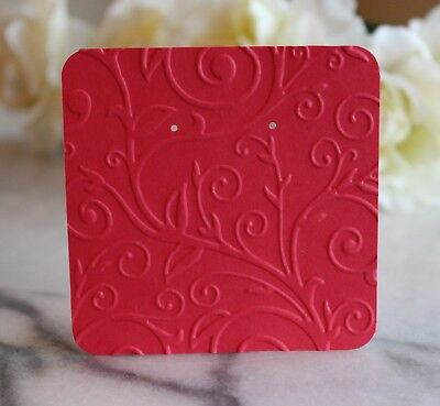 """25 Red Swirl Earring Cards - 3""""x3"""" Beautifully Embossed Jewelry Cards - NEW"""
