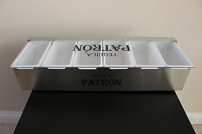 Patron Tequila 6 Compartment Metal Condiment Fruit Caddy Caddie Tray New in box