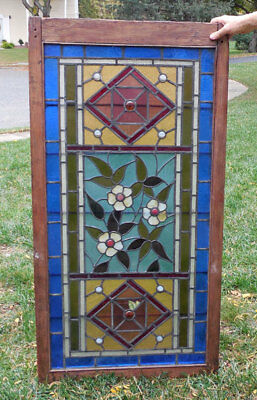 antique Victorian  American STAINED GLASS WINDOW - Orig. FRAME