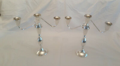 "Pair Vintage Duchin Sterling Silver 3-light 11½"" Candelabra/Candlesticks"