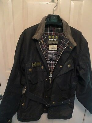 Barbour- A7 International Waxed Cotton  Jacket & Belt- Rare-Made In Uk-Size 48