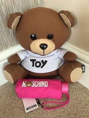 Moschino Pink Mini Compact Umbrella With Pouch & Toy Teddy Bear Storage Bnwt