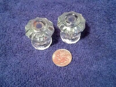 Matching Large Antique 10 Sided Glass Crystal Cabinet Drawer Knobs Pulls