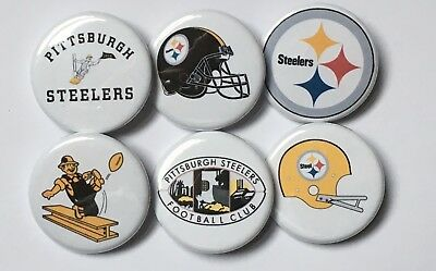"""Pittsburgh Steelers Team Logo Set of 6 1.25"""" Buttons or Magnets NFL Football"""