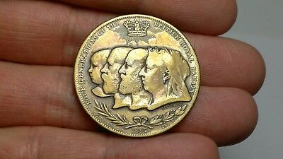 1897 UK Great Britain medal, 4 Monarchs, worn