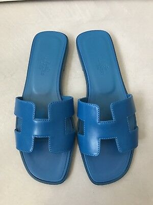 944f3f40a0c NIB AUTHENTIC NEW Hermes Blue Oran H Sandals Slippers 36 6 -  650.00 ...