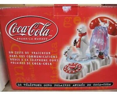 Vintage Coca Cola Animated Polar Bear Phone . New In Box