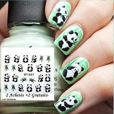 ❤️nouveau 24 Stickers Panda Bijoux Ongles Water Decals Stickers Nail Art