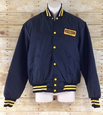 Vtg Holloway Stanley Tools Mens Large Snap Button Nylon Satin Jacket Made In USA