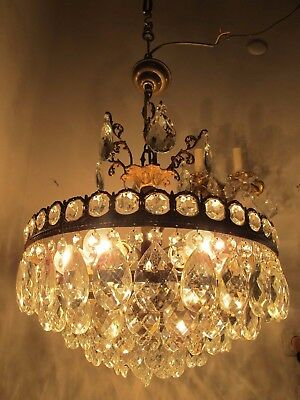 Antique Vnt French Big Basket Crystal Chandelier Lamp 1940's 17in Ø diamter