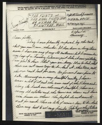 1945 US V-Mail 307th Field Artillery Battalion (Bonn, Germany), APO 78, NY