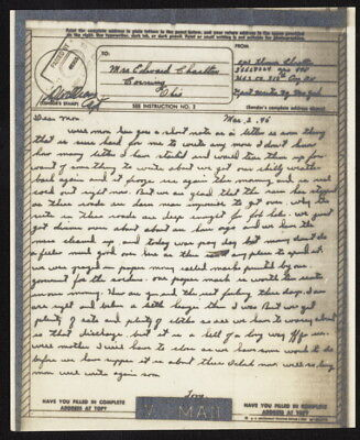 1945 US V-Mail HQ & Service Co, 318th Engineer Bn (Andier, Belgium) APO 448, NY