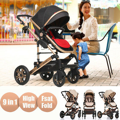 New4 In 1 Baby Pram Toddler Stoller Bassinet 4 Wheel Reversible Jogger Travel