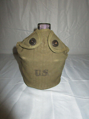 Korean  War Us Army M56 Complete Canteen Set Pouch Dated 51 Canteen & Cup 45