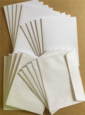 20 PACK - 10 x Blank Cards 210gsm quality white card A6 1 Fold + 10 C6 Envelopes