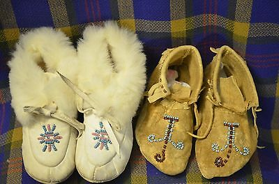 2 Pair of Vintage Baby Moccasins, One Hand Stitched w/Bead Work, Other w/Rabbit