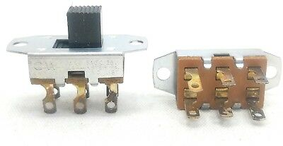 Lot of 5 - CW DPDT Slide Switch 3 Amp 125 VAC, 0.5 amp 125 VDC Double Pole/Throw
