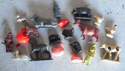 Old Lot Rubber and Plastic Farm Animal Figures with Woman Look