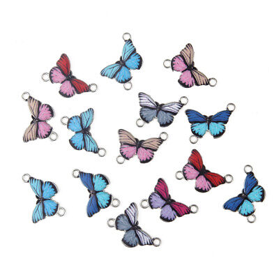 10X Enamel Multicolor Butterfly Beads Connector Charms Fit DIY Bracelet/Necklace
