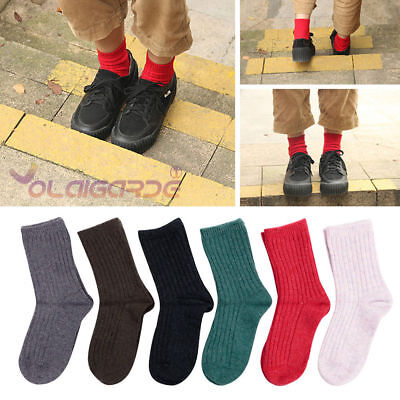 6 Pairs Child Girls Boys Kids Multi-Color Wool Cashmere Thicken Warm Socks 9-12Y