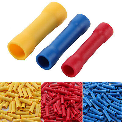 50Pcs 3 Color Electrical Wire Straight Butt Connector Insulated Crimp Terminals