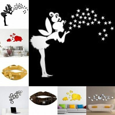 3D Mirror Wall Stickers Decal DIY Art Mural Removable Home Room Decor