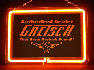 Gretsch Guitar Lesson Studio Music Store Display Neon Sign