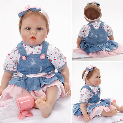 "Newest 22"" Handmade Lifelike Reborn Silicone Vinyl Baby Girl Doll Gift +Clothes"