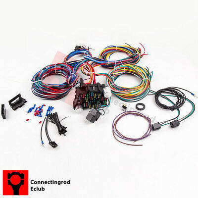 21 CIRCUIT 17 Fuses EZ Wiring Harness Chevy Mopar Ford Hot ... on