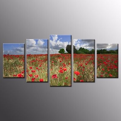 Giclee Canvas Wall Art Red Wild Flowers Canvas Print Art Home Decor-5pcs