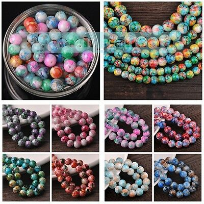Hot Wholesale 6/8/10/12mm Lacquer Round Loose Spacer Glass Beads Jewelry Finding