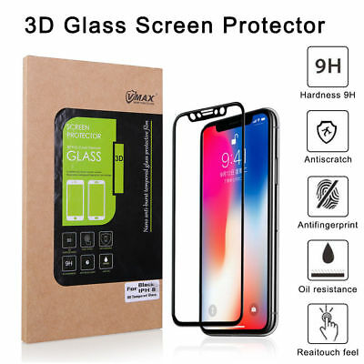 For iPhone X 3D 9H Full Cover Tempered Glass Film Screen Protector Anti Scrach