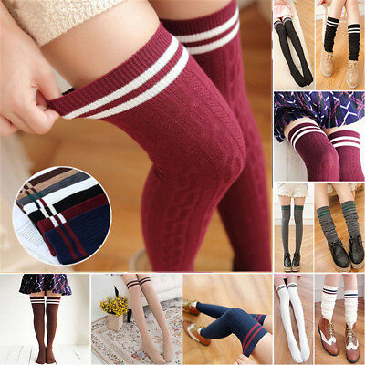 Women Knit Cotton Over The Knee Long Socks Striped Thigh High Stocking Socks US