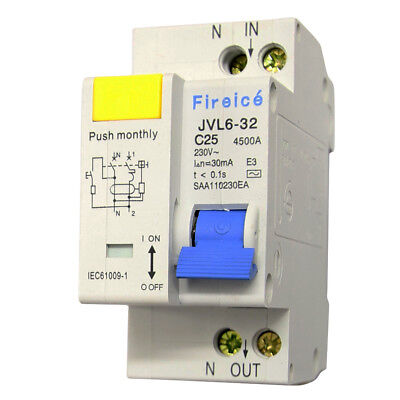 25AMP - RCBO 2 Pole 4.5kA - Safety Switch for Switchboard ! RCD/MCB Combo!