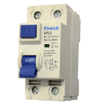 40AMP - RCD / RCCB 2 Pole 6kA - Safety Switch for Switchboard !