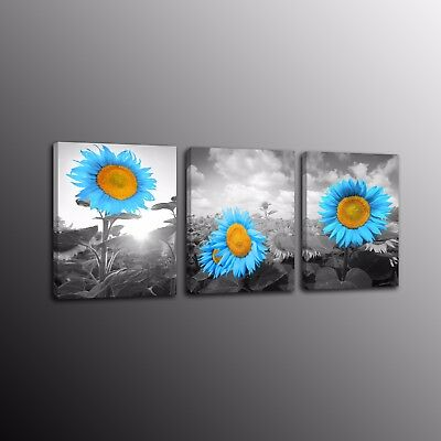 3 Panels Canvas Print Painting Picture Home Decor Wall Art Blue Sunflower Poster