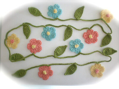 Crochet  Flowers Cotton Garland Bunting Decoration Craft