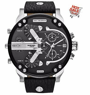 Diesel Mr. DZ7313 Daddy 2.0 Black Dial Men's Chronograph Watch 4 Time Zone GIFT