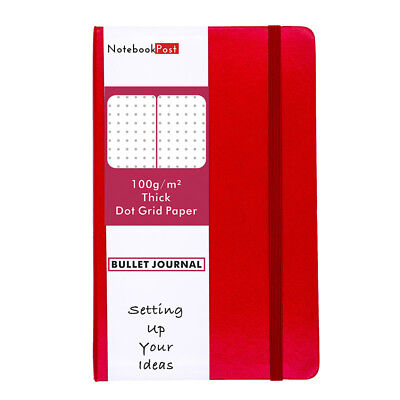 Red Leather Dotted Notebook for Bullet Journal Medium A5, Dot Grid Paper Journal