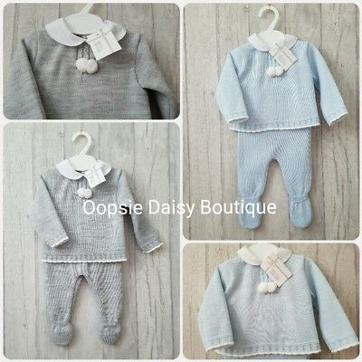 Baby Boys Stunning Spanish Knitted Pom Pom Suit with Peter Pan Collar- 2 Piece ☆