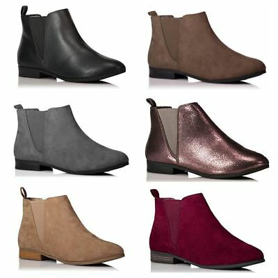New Ladies Pull on Flat Low Heel Chelsea Ankle Boots School Work Casual Shoes UK