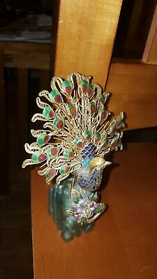 BEAUTIFUL ENAMEL CLOISONNE PEACOCK SCULPTURE w ONYX BASE VERY ORNATE DECORATIVE