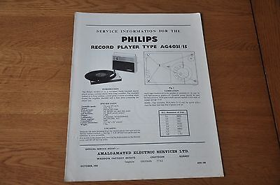 Philips AG 4031/15 Record Player Workshop Service Manual AG4031/15