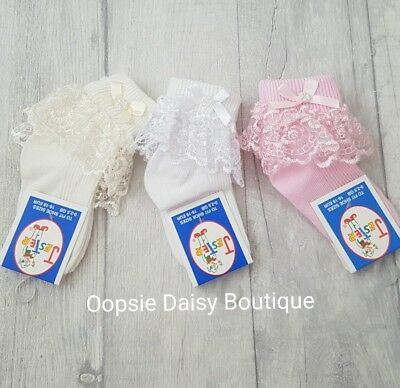 Baby Girls Gorgeous Ribbon & Pearls Frilly Ankle Socks ☆ Newborn upto 2yrs☆