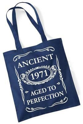 49th Birthday Gift Tote Mam Shopping Cotton Bag Ancient 1971 Aged To Perfection