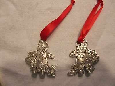Pair of Longaberger Pewter Tie-On / Ornament Gingerbread Girl & Boy
