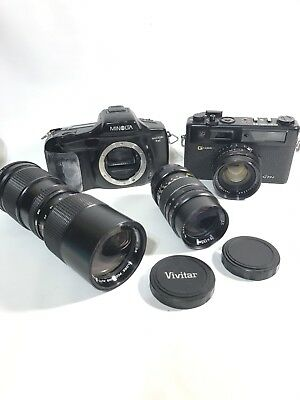 Vintage Camera and lens lot Minolta Yaschica