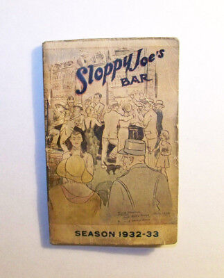 Sloppy Joe's Bar Guide 1932-33-Havana,Cuba